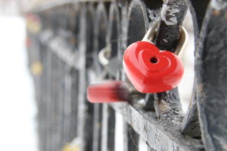 heart shaped: love padlock, heart shaped, in winter time