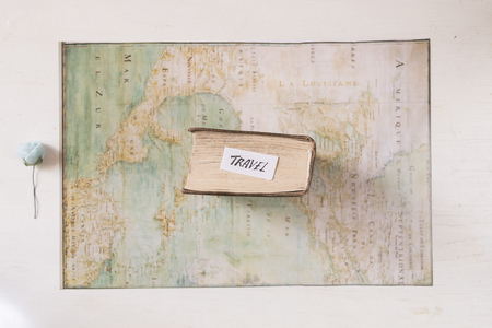 Travel text. Map created by Claude Bernou, published in 1681 and blue flower. Stock Photo