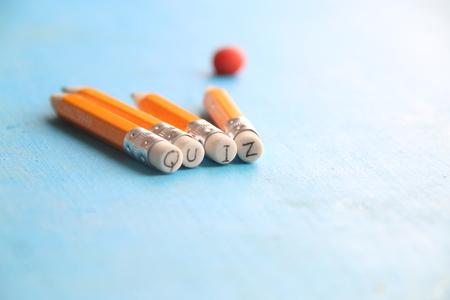 Quiz - inscription on a yellow pencil Stock Photo
