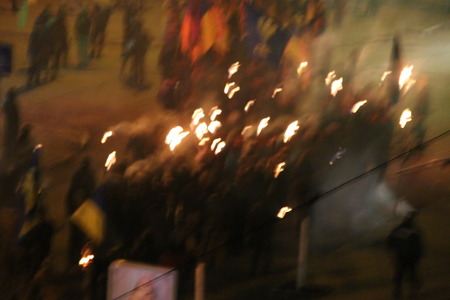 protesters riots, the torchlight procession, blurred photo for background
