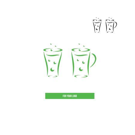 Glasses with soda in the style of brush strokes. Ilustração