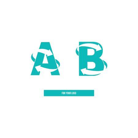 Icon letters A and B, arrows. Ilustração