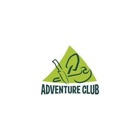 Logo for a camping club. Shovel, knife, pickaxe. Ilustração
