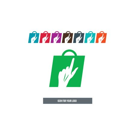 Hand icon on the background of the bag.