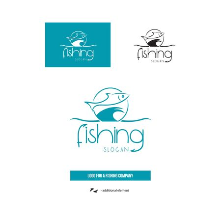 Logo of the fishing company. Fish on the wave. 写真素材 - 132031679