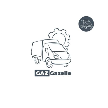 Gazelle car icon with gear element.