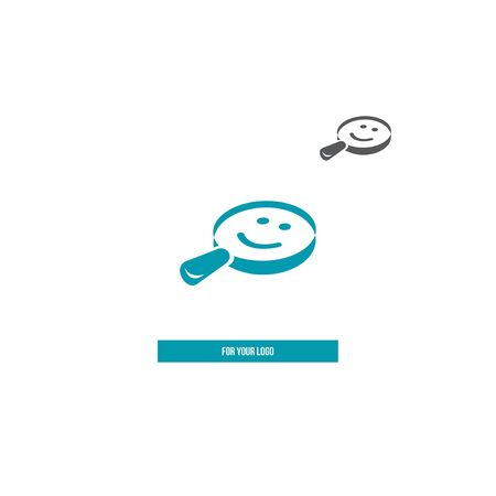 Magnifier and smiles icon for logo.