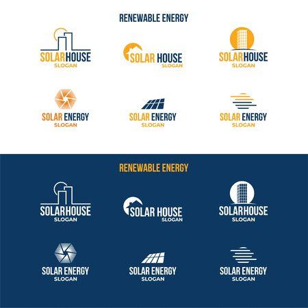 Renewable energy logo. Sun, house, solar panels. Ilustração