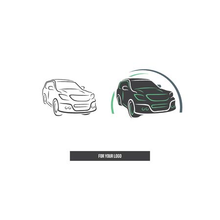Car in the style of brush strokes. Japanese SUV.