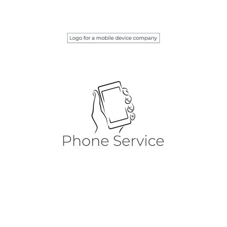 Hand holds smartphone. Vector phone icon in brush strokes style.