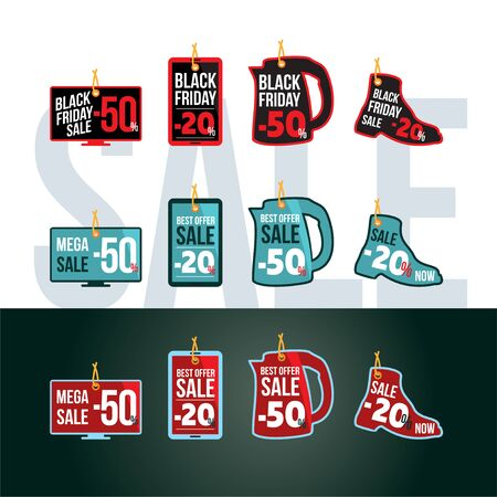 Black Friday, discounts, tags or labels in a round, square shape and in the form of a TV, smartphone, kettle, boot.