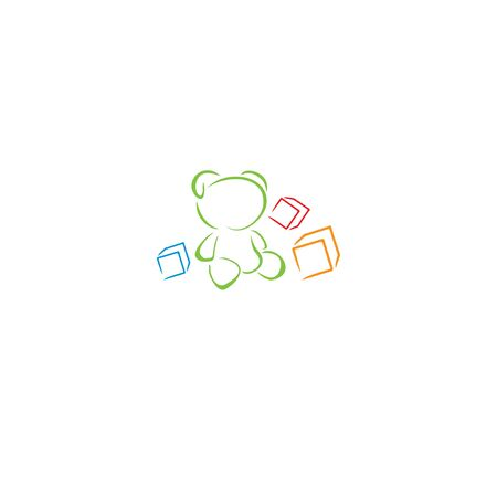Bear icon, cubes in the style of brush strokes. Ilustração