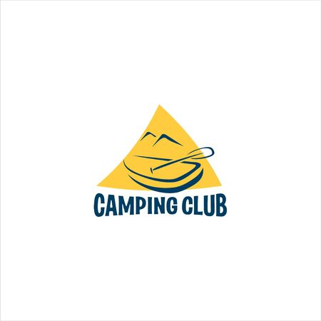 Camping club icon on tent background for logo.