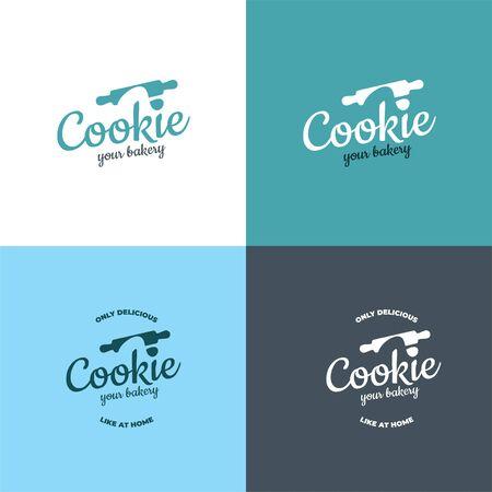 Rolling pin and dough for the bakery logo. Ilustração