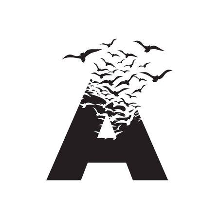 letter A with effect of destruction. Dispersion. Birds.