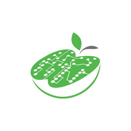 Apple with a motherboard. Green filling.