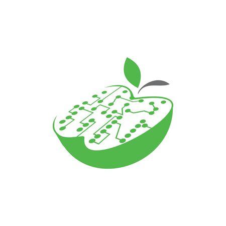 Apple with a motherboard. White filling. Ilustração
