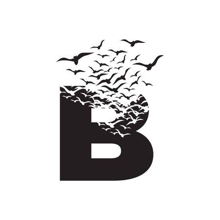 letter B with effect of destruction. Dispersion. Birds.