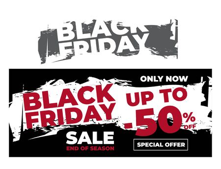 Banner or flyer design with Black Friday. Torn Design.   イラスト・ベクター素材