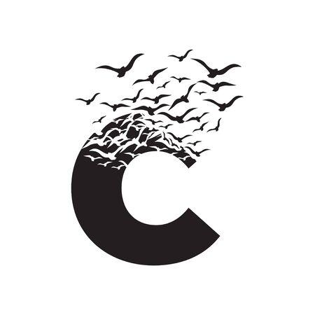 letter C with effect of destruction. Dispersion. Birds. Ilustração