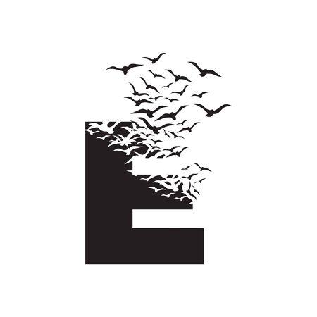 letter E with effect of destruction. Dispersion. Birds. Ilustração