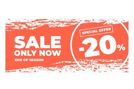 Banner or flyer design with discount, sale. Torn Design.