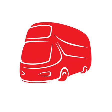Red double-decker bus in the style of brush strokes.