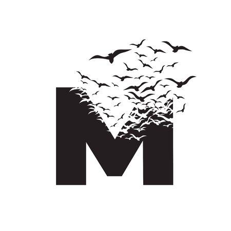 Buchstabe M mit Zerstörungswirkung. Dispersion. Vögel. Vektorgrafik