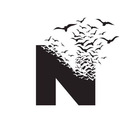 lettera N con effetto di distruzione. Dispersione. Uccelli.