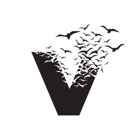 letter V with effect of destruction. Dispersion. Birds.