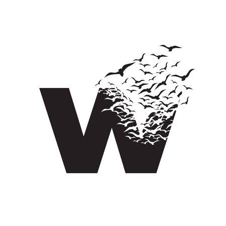 lettre W avec effet de destruction. Dispersion. Des oiseaux.