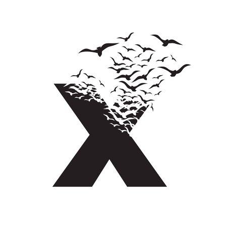 lettre X avec effet de destruction. Dispersion. Des oiseaux. Vecteurs