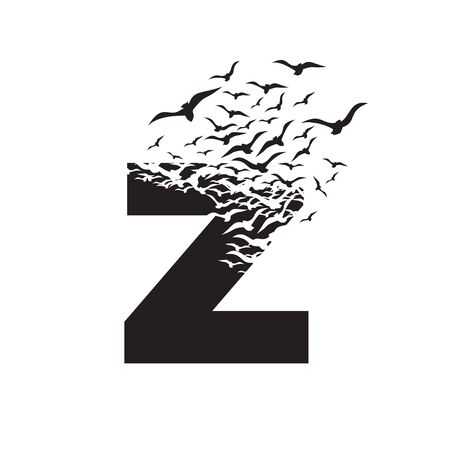 letter Z with effect of destruction. Dispersion. Birds. Ilustração