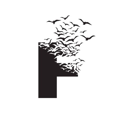 letter F with effect of destruction. Dispersion. Birds.