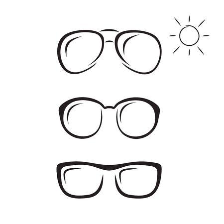 Sketch of sunglasses and sun. Ilustração