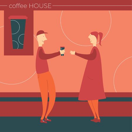 A man and a woman met for coffee. Illustration of a pleasant meeting.