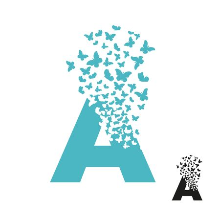 letter A with effect of destruction. Dispersion. Butterfly, moth.