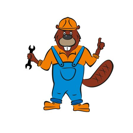 Beaver, builder, holds wrench in his hand. Illustration