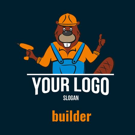 Beaver, builder. Holds a power tool in his hand. Logo for a construction company.