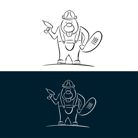 Beaver, builder in the style of brush strokes. Holds a power tool in his hand. Logo for a construction company. Illustration