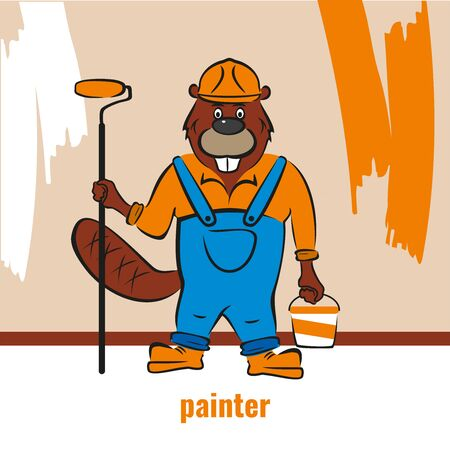 A beaver, a builder, holds a paint roller and a bucket of paint in his hand.