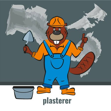 Beaver, a plasterer builder, holds a trowel in his hand.