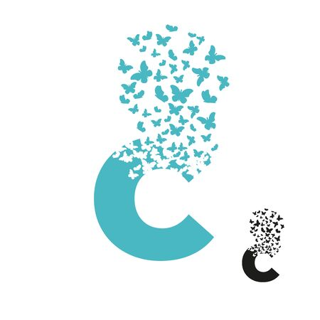letter C with effect of destruction. Dispersion. Butterfly, moth. Ilustrace