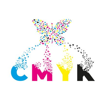 letters with effect of destruction. Dispersion. Butterfly, moth. CMYK. Illustration