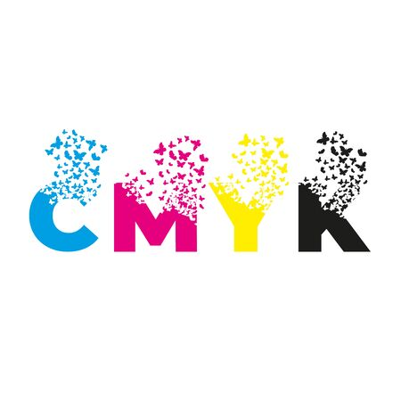 letters with effect of destruction. Dispersion. Butterfly, moth. CMYK. Ilustrace