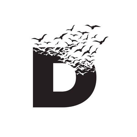 letter D with effect of destruction. Dispersion. Birds.
