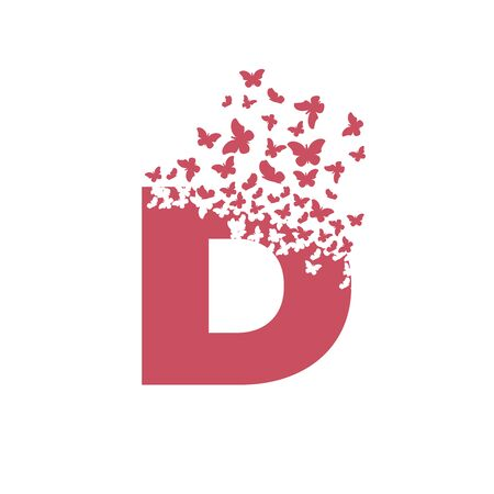 letter D with effect of destruction. Dispersion. Butterfly, moth.