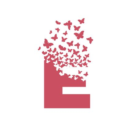 letter E with effect of destruction. Dispersion. Butterfly, moth.