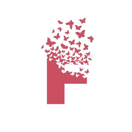 letter F with effect of destruction. Dispersion. Butterfly, moth. Ilustrace
