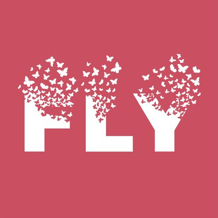 The word FLY dispersing into a cloud of butterflies and moths.